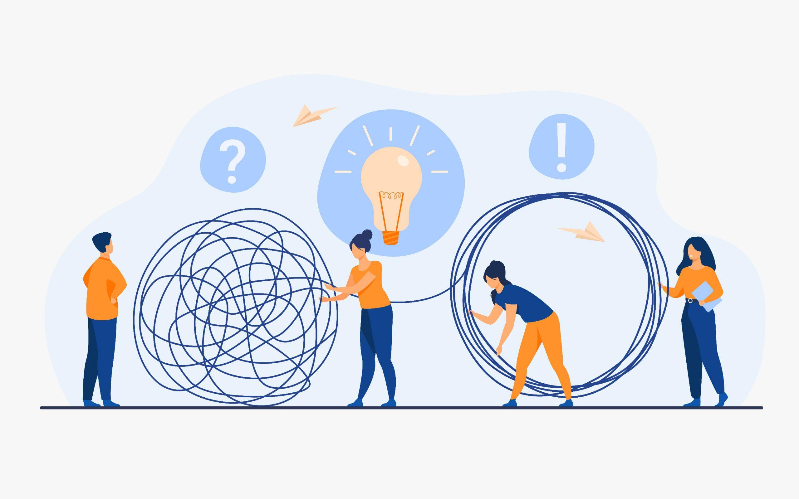 Équipe de gestionnaires de crise résolvant les problèmes des hommes d'affaires. Employés avec une ampoule démêlant l'écheveau. Illustration vectorielle pour le travail d'équipe, la solution,