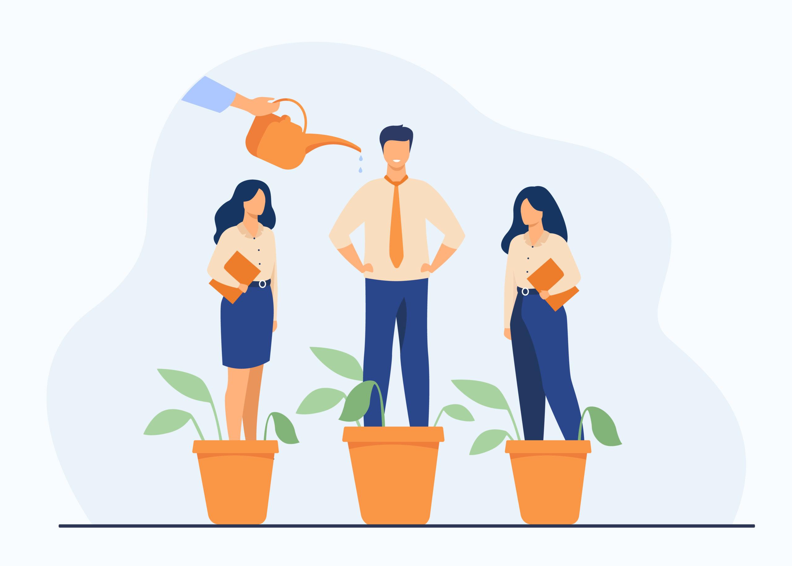 Métaphore arrosage à la main des plantes et des employés dans des pots de fleurs.       avec des professionnels de l'entreprise en pleine croissance.