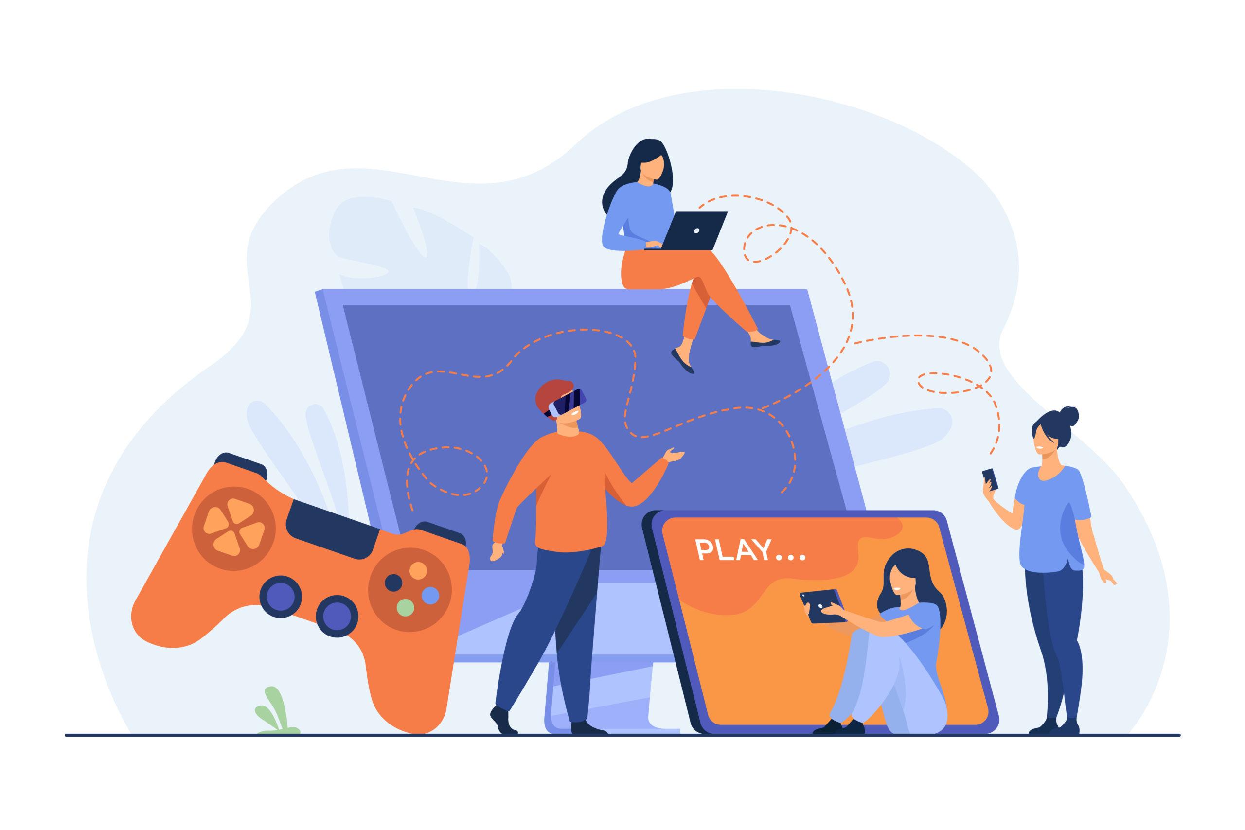 Des joueurs utilisant différents appareils et jouant sur téléphone mobile, tablette, ordinateur portable, console. Des personnes profitant de jeux VR 3G. Illustration vectorielle pour le cross play, concepts de matériel de jeu.
